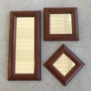 3 Piece Handmade Wooden Frame Geometric Mirror Set
